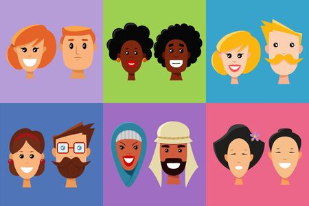 Faces of people of different nationalities and emotions set. Europeans, Asians, Africans, Arabian. Human expression icons. Vector cartoon avatars men and women. Flat style.