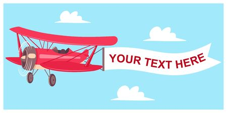 Red airplane with flight banner on a sky background with clouds. Vector cartoon flat illustration of an aircraft with a blank message advertisement. Иллюстрация
