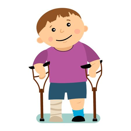 Disabled boy on crutches with a gypsum leg isolated on white background. Vector cartoon character.
