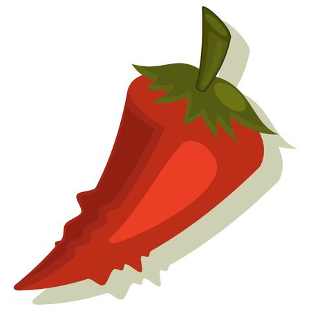 Red chilli pepper vegetables . Cartoon vector icon isolated on white background.