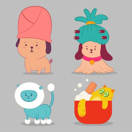 Pet grooming vector concept illustration with cute dog and cat characters set isolated on background.