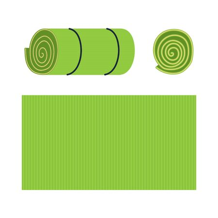 Yoga mats vector cartoon set isolated on a white background.