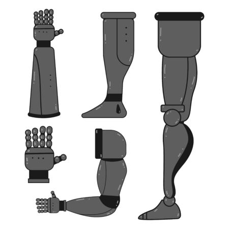 Robot hands and legs vector cartoon set isolated on white background. Prosthetics concept illustration. Иллюстрация