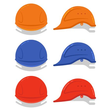 Building hard hat vector cartoon set isolated on a white background.