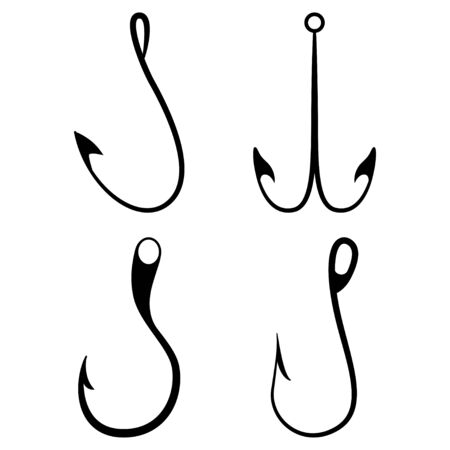 Fishing hook vector black silhouettes set isolated on a whitebackground.