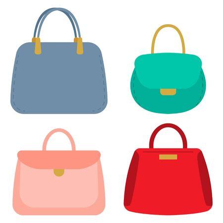 Women handbags vector cartoon set isolated on a white background.
