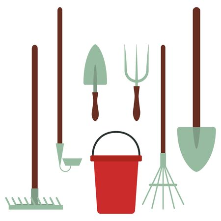 Garden tools vector cartoon set isolated on a white background.