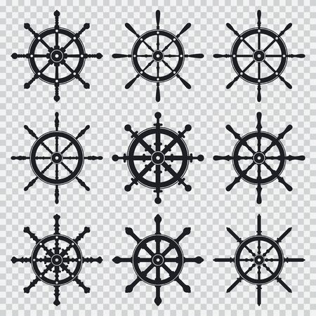 Ship and boat wheel vector black silhouette icons set isolated on a transparent background. Иллюстрация