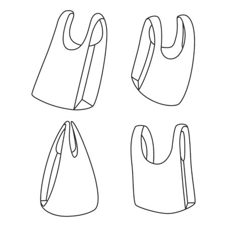 Plastic bags vector linear simple icons set isolated on white background.
