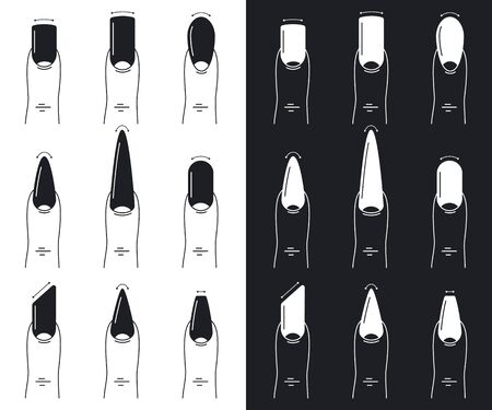 Nail shapes set. Manicure vector flat outline illustration isolated on a white and black background.