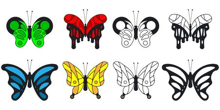 Butterfly vector cartoon set isolated on a white background.
