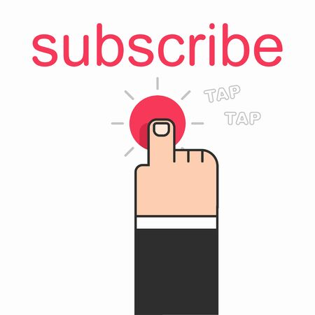 Subscribe vector flat concept illustration with man hand press a button. Иллюстрация