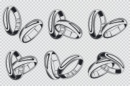 Wedding rings vector black silhouette set. Engagement jewelry collection isolated on transparent background.