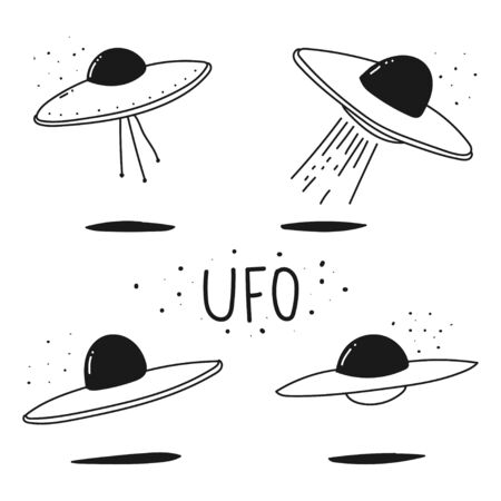 UFO doodle hand drawn vector set isolated on a white background.