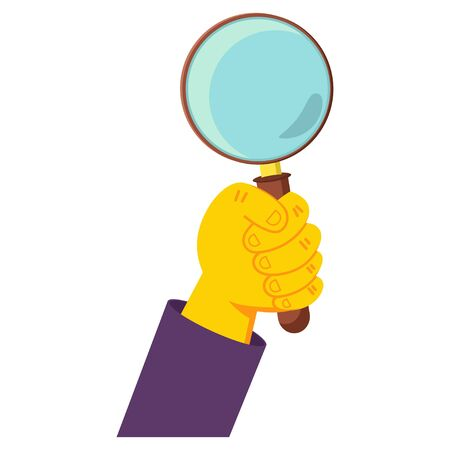 Human hand holding magnifying glass vector cartoon illustration isolated on a white background. Иллюстрация