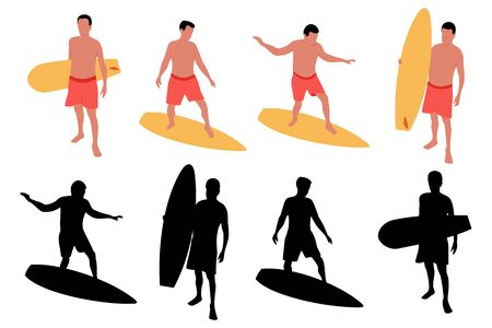 Surfer with surfboard vector cartoon illustration and black silhouette set isolated on a white background. Иллюстрация