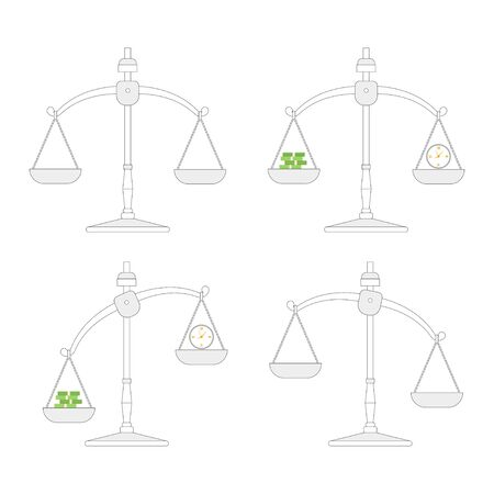 Scales with clock and money vector icons set isolated on a white background. Иллюстрация