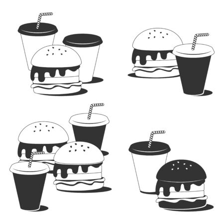 Fast food vector line icons set isolated on a white background.