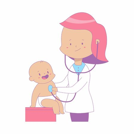 Doctor with cute baby vector medical illustration isolated on a white background.