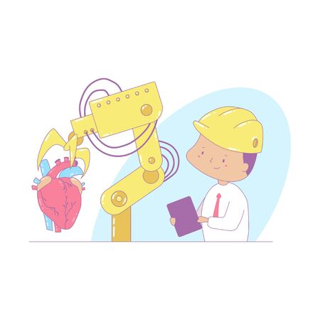 Industry vector cartoon concept illustration with robot and an engineer.