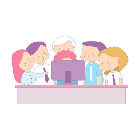 Teamwork in office vector business cartoon illustration isolated on a white background.
