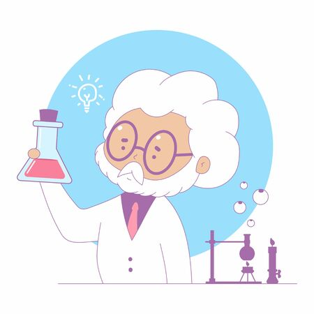 Science vector cartoon concept illustration with professor in laboratory.