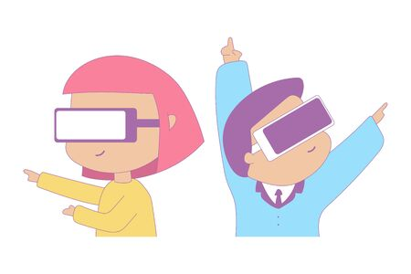 Cute man and girl in virtual reality glasses vector cartoon characters isolated on a white background.