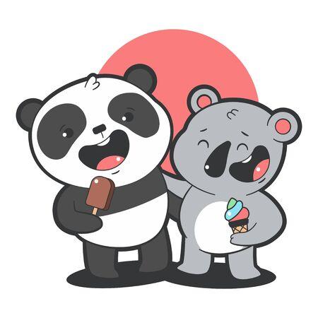 Cute panda and koala eat ice cream vector cartoon illustration isolated on a white background. Иллюстрация