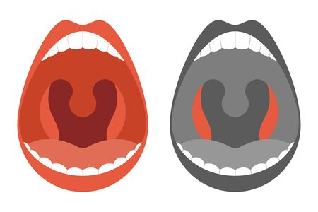 Tonsils vector cartoon simple illustration isolated on a white background.