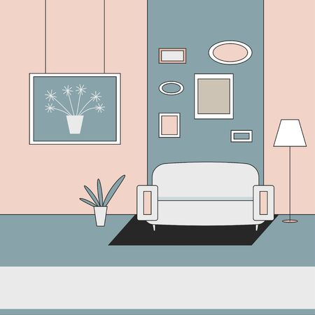 Home interior with couch vector flat illustration. Иллюстрация