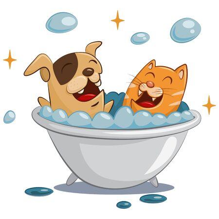 Haustierpflege und Spa. Hunde- und Katzenbetreuung. Tier im Bad mit Seifenblasen. Lustige Karikaturillustration lokalisiert auf weißem Hintergrund.