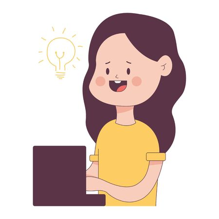 Content writing vector concept illustration with cute cartoon girl character isolated on a white background. 矢量图像