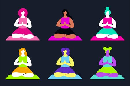 Yoga vector cartoon set. Meditating woman flat character isolated on background.