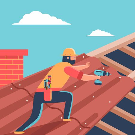 Roofer repair roof covering on house. Vector cartoon man with screwdriver character illustration.