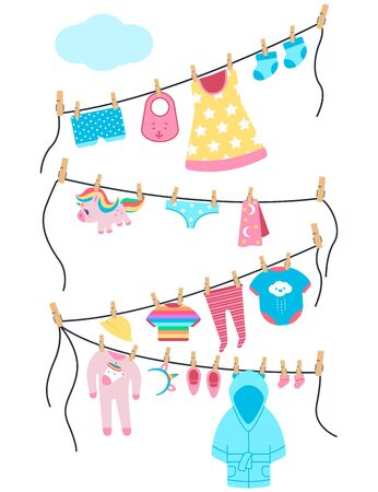 Baby clothes and toys on a clothesline with clothespins. Vector cartoon illustration isolated on a white background. Ilustración de vector