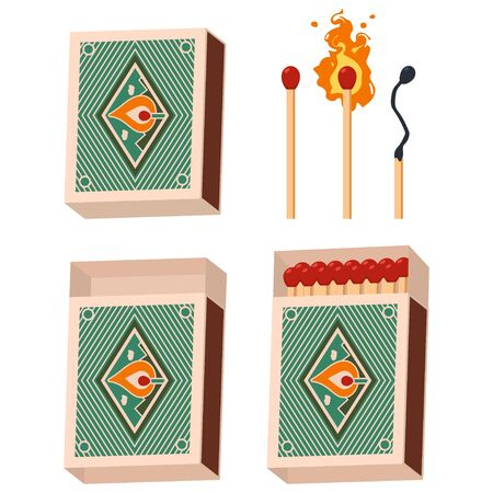 Matchbox and matches vector set isolated on white background.