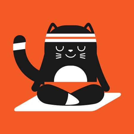 Cute black cat in yoga pose. Funny vector cartoon pet character in lotus poses isolated on a background.