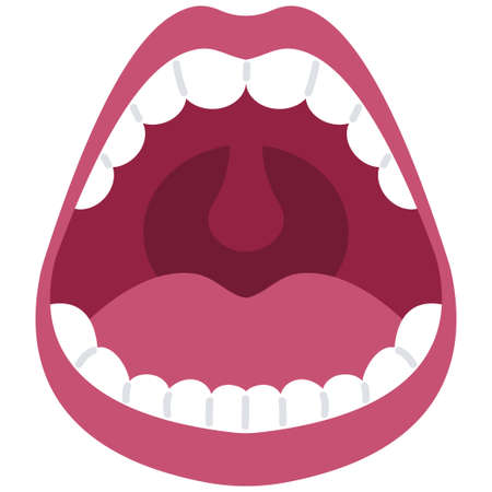 Open mouth vector cartoon illustration isolated on a white background.