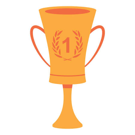 Winner cup with number one and laurel wreath vector illustration isolated on a white background.