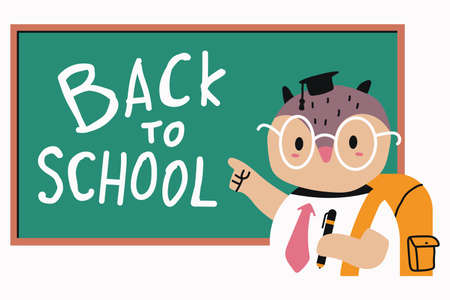 Cute owl near the blackboard. Back to school vector cartoon illustration isolated on white background.