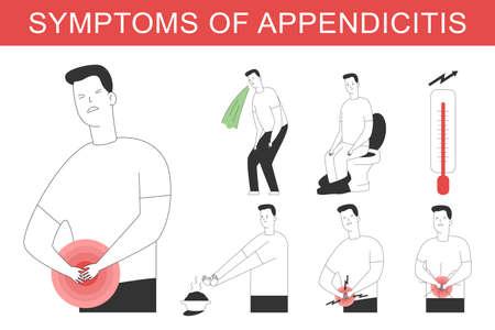 Appendicitis symptoms vector cartoon medical illustration.