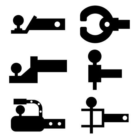Trailer hitch black silhouette. Towbar vector icons set isolated on a white background.