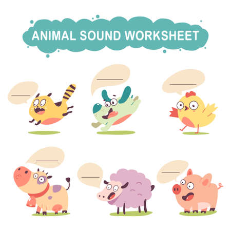 Animal sound worksheet vector cartoon set isolated on a white background.