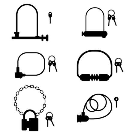 Bike lock and key vector black silhouette set isolated on a white background.
