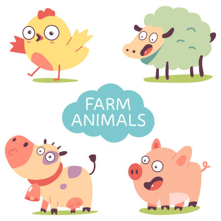 Cute farm animals. Funny cow, pig, sheep and chicken character vector cartoon set isolated on a white background. 矢量图像