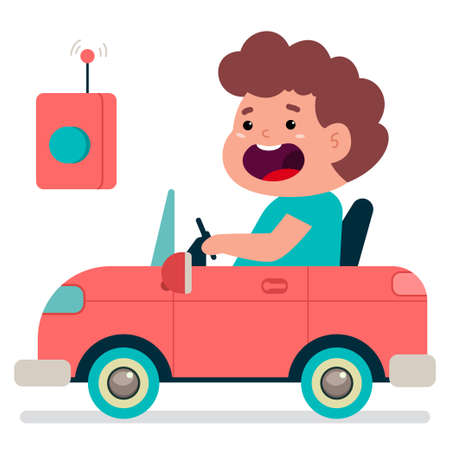 Cute boy driving a toy electric car vector cartoon illustration isolated on white background.