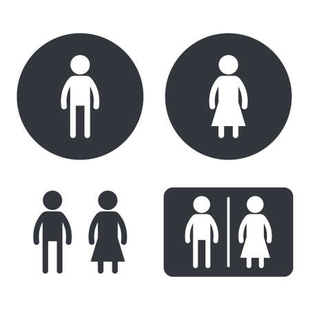 Restroom sign vector set. Male and female toilet black silhouette icons isolated on a white background. Ilustrace