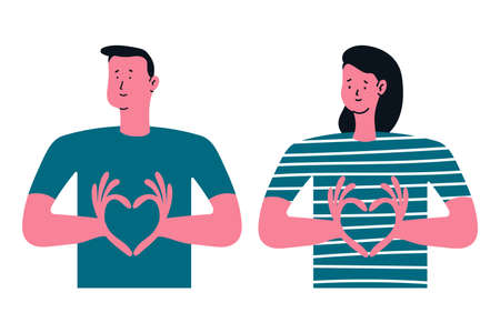 Man and woman showing hand heart sign vector cartoon illustration isolated on a white background. Vectores