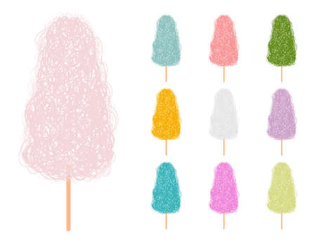 Cotton candy vector cartoon set in different color isolated on a white background. 矢量图像
