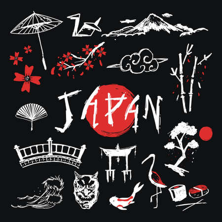 Japan hand drawn traditional elements vector set isolated on a black background.